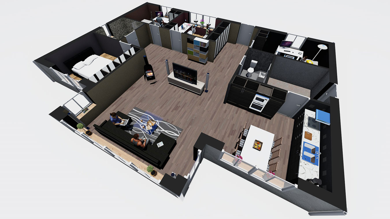 3D-visualisering av en planritning inomhus.