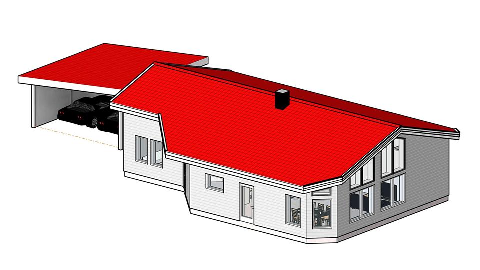 3D-bil på en nybyggd villa.