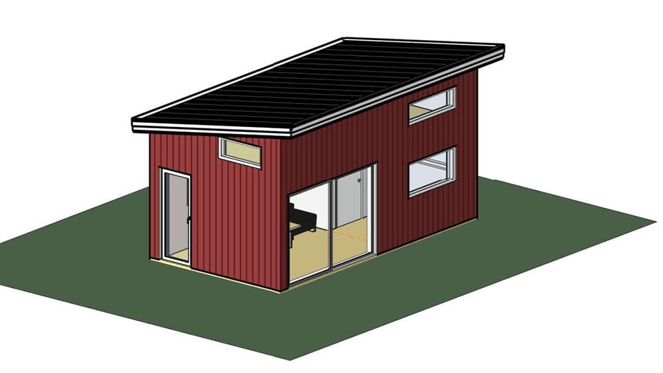 3D-bil på ett attefallshus.