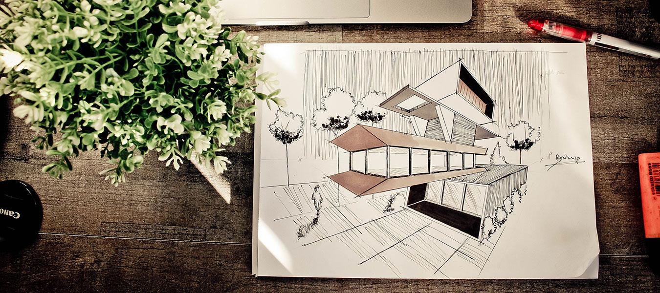 Ritning på arkitektritat hus.