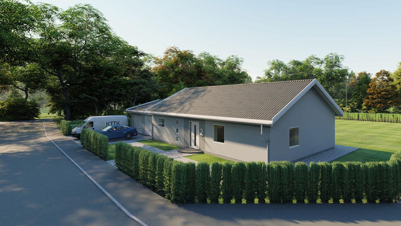 3D-visualisering av en villa snett framifrån.