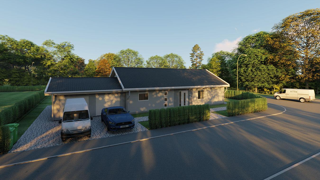 3D-visualisering av en villa framifrån.