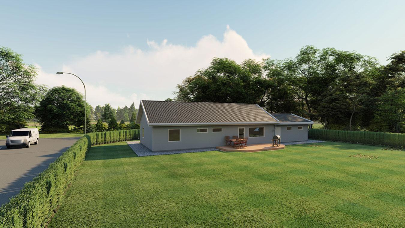 3D-visualisering av en villa bakifrån.
