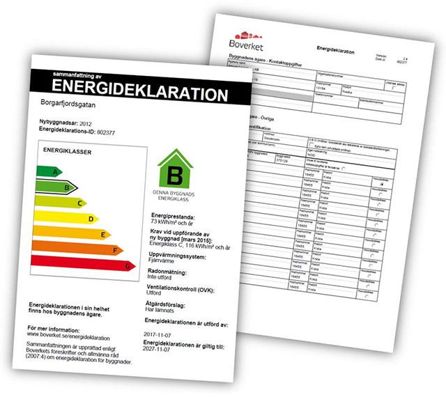 Blanketter för energiberäkning och energideklaration.